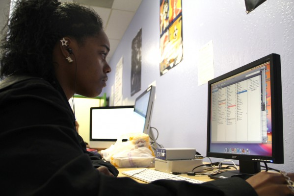 """Being in complete silence is so boring,"" said Tiffany Price, also known as ""T-Krazed."" Price uses Reasons 5 to create her music during an advanced beat making lab at the RYSE center in Richmond."