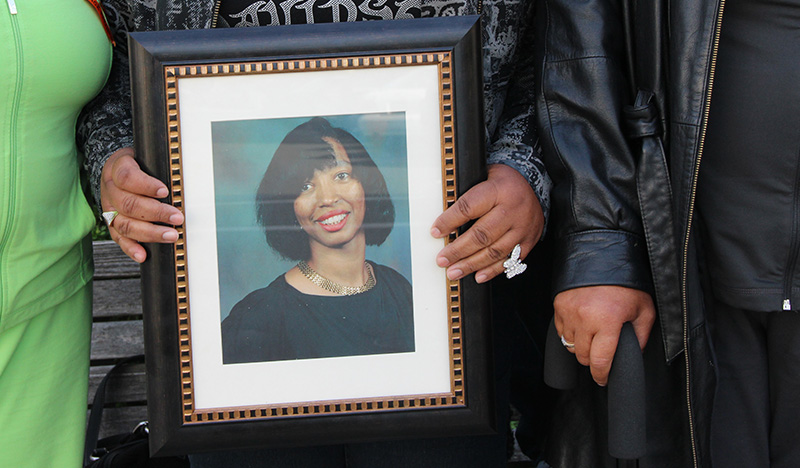 Deborah Ann Ross's family brought a picture of her to court in November. Ross was murdered on August 11, 2009 by her ex-boyfriend Nathan Burris.