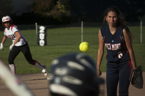 """Lady Oilers' senior Pearla Ponce said she hasn't pitched since her freshman year. """"It's kind of weird to be back on the mound,"""" she said. """"I lost the technique, so it's kind of a struggle to get my speed back. Now I feel bad that I'm disappointing my team in a way."""" (Photo by: Tyler..."""