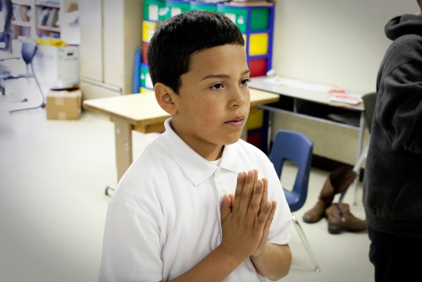 A Coronado Elementary fifth grader in the Mindfulness and Yoga class. (Photo by: Sara Lafleur-Vetter)