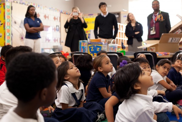 Kindergartners at Ford Elementary school watch carefully during a presentation from Chevron. (Photo by: Sara Lafleur-Vetter)