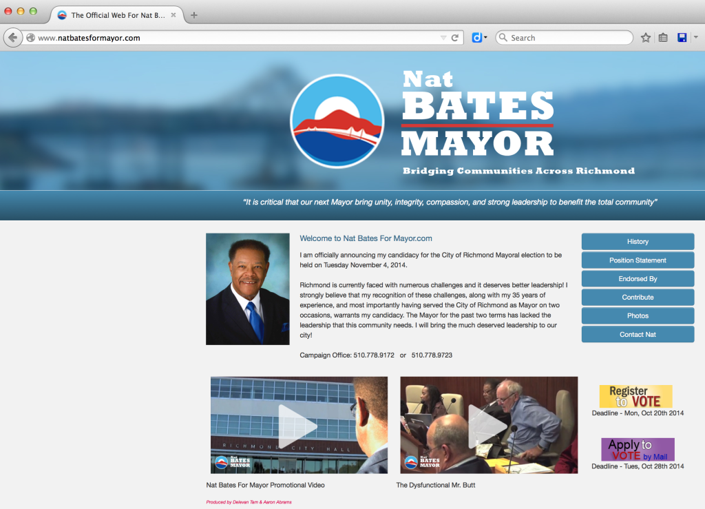 "A video paid for and authorized by Moving Forward is displayed on Nat Bates' website with the description ""The Dysfunctional Mr. Butt."""