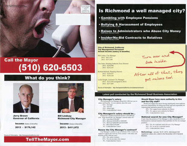 Mailers from the Richmond Small Business Association accuse City Manager Bill Lindsay of receiving a salary higher than California Governor Jerry Brown and of mismanaging the city. (Photo provided by Richmond resident Joe Health)