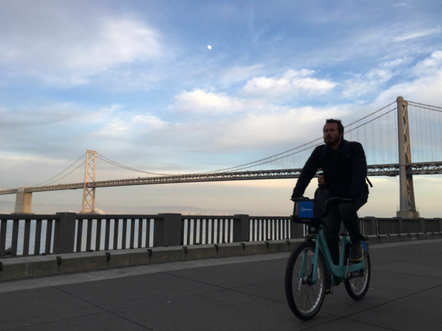 In eight to ten years, bikers will be able to ride from San Francisco to Oakland across the Bay Bridge in about 45 minutes. (Photo by Sam-Omar Hall)