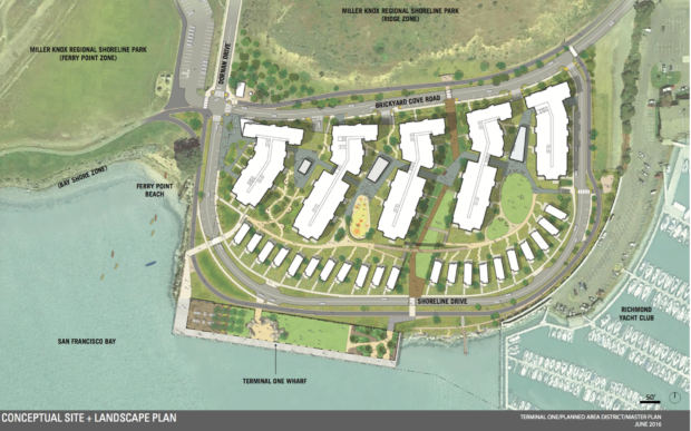 Aerial view graphic of the proposed Terminal One development. Image courtesy of CMG Landscape Architecture/Laconia Development LLC.