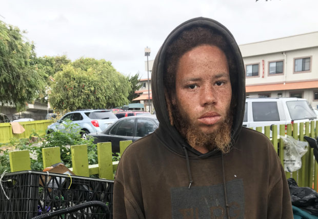 Sedzi Mcnair, 25, lives at the homeless encampment that was raided last Tuesday